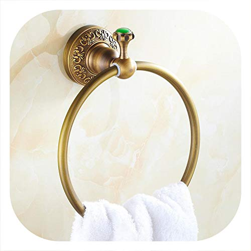 Emerald Antique Brass Green Stone Bathroom Hardware Set Carved Brushed Bathroom Hardware Accessories,Towel Rings ()