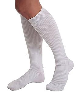 FitDio 15-120mmHG White Anti Fatigue Diabetic Compression Socks