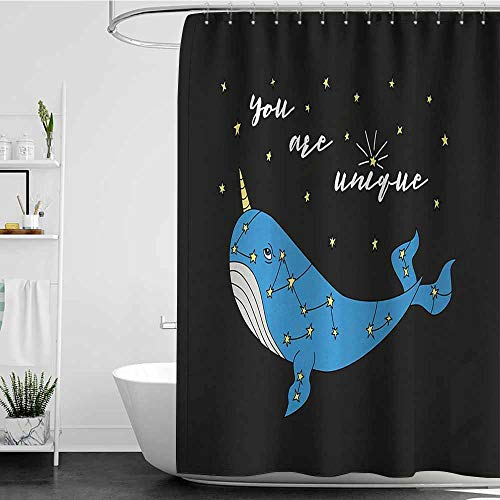 SKDSArts Shower Curtains for Bathroom Narwhal,Cute Hand Drawn Cartoon Character Star Patterned Narwhal with Inspirational Quote,Multicolor,W36 x L72,Shower Curtain for Small Shower stall]()
