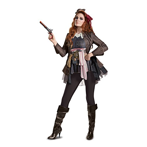 Disney Women's POTC5 Captain Jack Sparrow Female Deluxe Adult Costume, Brown, Small - Deluxe Adult Captain Jack Sparrow Costumes