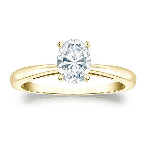 14k Yellow Gold Oval Diamond Simulant CZ Solitaire Ring 4-Prong(3/4 ct,Excellent (Four Prong 14ky Gold Solitaire)