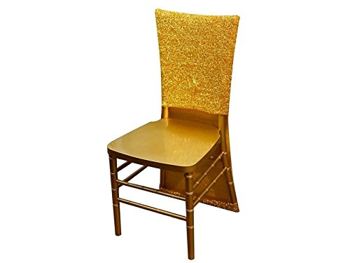 BalsaCircle 10 Gold Metallic Fitted Spandex Stretch Chair Slipcovers for Wedding Party Event Reception Decorations Home Supplies -