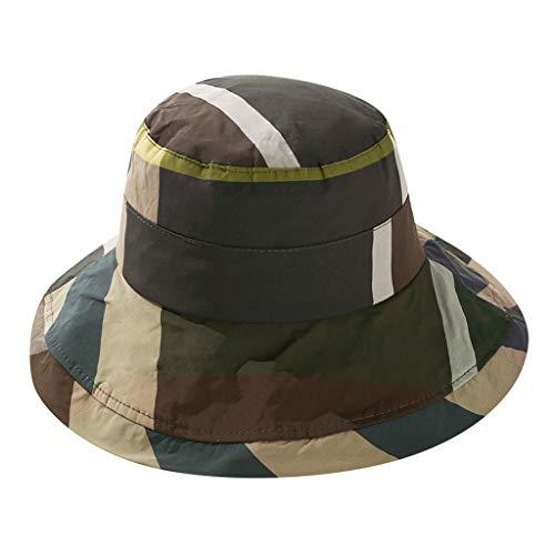 HYSGM Women Summer Sun Visor Hat Patchwork Cotton Foldable Fisherman Hat with Neck Flap (Green)