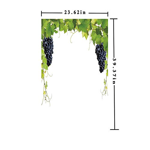Homenon Window Film Decorate Glass Film 3D Printed,Wine Leaf with Loose Bunch of Large Berries Tannin Breed French Village,W15.7xL63in,for Bathroom Bedroom Living Room with Green Black