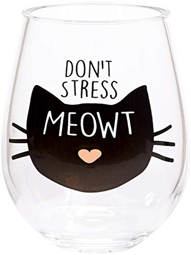 C.R. Gibson Black Cat 'Don't Stress Meowt' Plastic Stemless Wine Glass, 12 oz., 3.5'' W x 4.5'' H