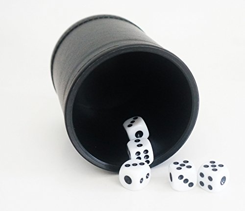 NEW! PROFESSIONAL DELUXE DICE CUP, FAUX LEATHER WITH 5 DICE
