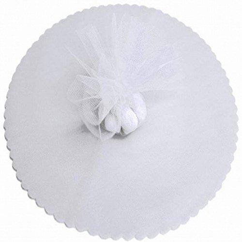 100 White Scalloped Tulle Circles 9' Wedding Favor Wrap