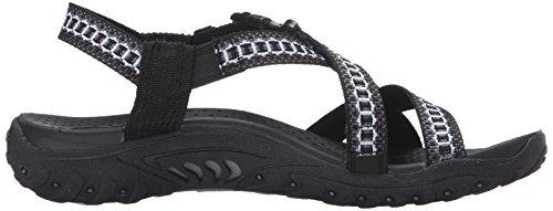 black M Kooky Sandal US grey Reggae Flat 8 Women's Skechers x81qaXp1