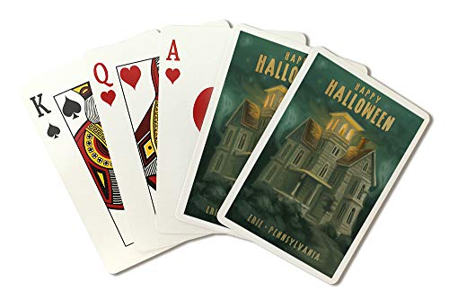 Erie, Pennsylvania - Haunted House - Halloween Oil Painting (Playing Card Deck - 52 Card Poker Size with Jokers)]()