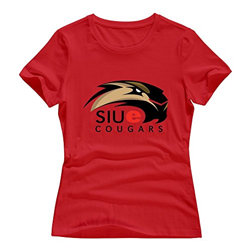 Red 100% Cotton SIU Edwardsville Cougars T Shirts For Women Size -