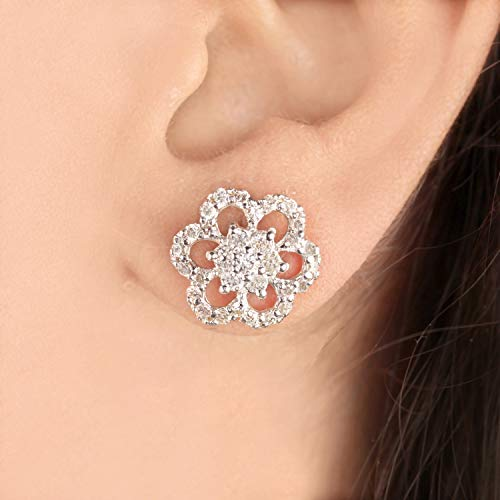Flower Shaped Natural 1.38ct Diamond Handmade Stud Earrings Fine Jewelry Gift For - Natural Ct 1.38