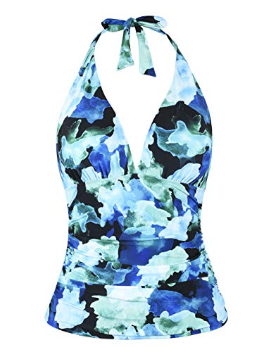 Hilor Women's Plunging V Neck Halter Swim Tops Shirred Tankini Top Green&Blue Floral 10