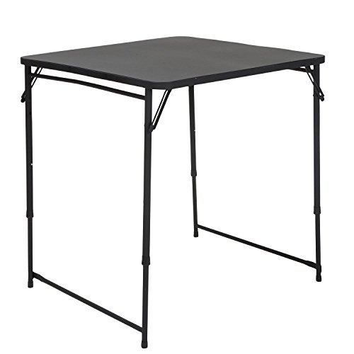 "COSCO 34"" Square Adjustable Height PVC Top Table, Black ()"