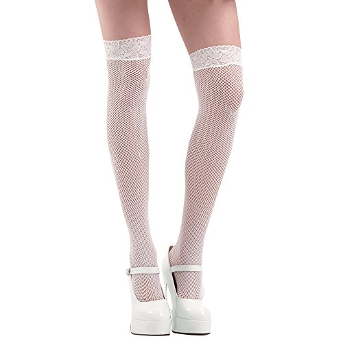 (White Thigh-High Fishnet Halloween Adult Women's Cosplay Costume Tights)