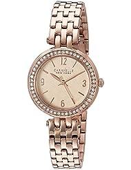 Caravelle New York Womens 44L175  Swarovski Crystal Rose Gold Tone Watch