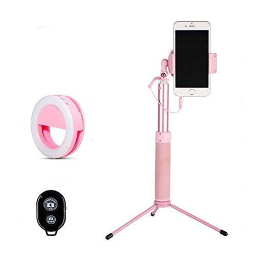 Selfie Stick Tripod 1.12M with Ring Light Remote Bluetooth for Live Stream Compatible for iPhone X/SE/6/6s/6 Plus/7/7 Plus/8/8 Plus/,Samsung 8/S8/S8 Plus,Nexus,LG,Moto and - Battery Cameras Powerd