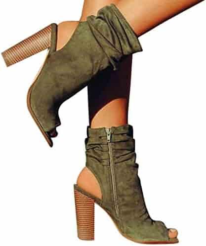 8661312f99 BEUU 2019 New Women s Ladies Fashion Square High Heel Fish Mouth Flock  Roman Shoes Sandals