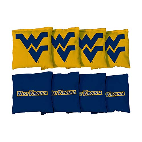 Victory Tailgate NCAA Collegiate Regulation Cornhole Game Bag Set (8 Bags Included, Corn-Filled) - West Virginia University Mountaineers WVU