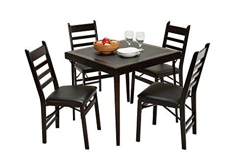 Cosco Folding Espresso Wood Table Square with Vinyl Inset Espresso Black
