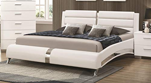 Coaster CO-300345Q Queen Bed, Glossy White Coaster Furniture Contemporary Bed