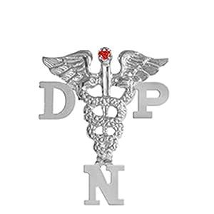 NursingPin Doctor of Nursing Practice DNP Ruby Graduation Pin in Silver