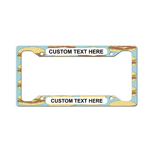 Custom License Plate Frame Retro Hamburger Seamless Pattern Aluminum Cute Car Accessories Wide Top Personalized Text Here One Frame