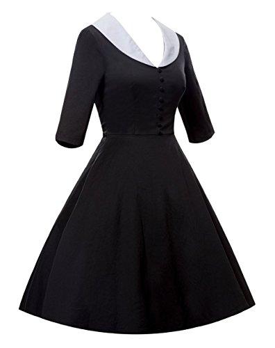 Femmes Daroj Cru 1/2 Manches 1950 Rockabilly V-cou Pinup Partie Balançoire Robe Noire