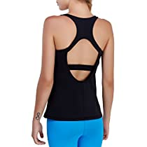 Matymats Yoga Tank Tops for Women Built in Bra Workout Sleeveless Shirts Open Back