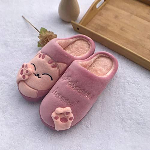 Douce Intérieure Femme Coton Chaussures Mules Accueil Hiver Slippers Peluche Doublure Rose Automne Chaussons Chat Saguaro Pantoufles Homme w840qxg