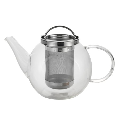BonJour Coffee and Tea Handblown Borosilicate Glass Teapot, 27-Ounces, Harmony