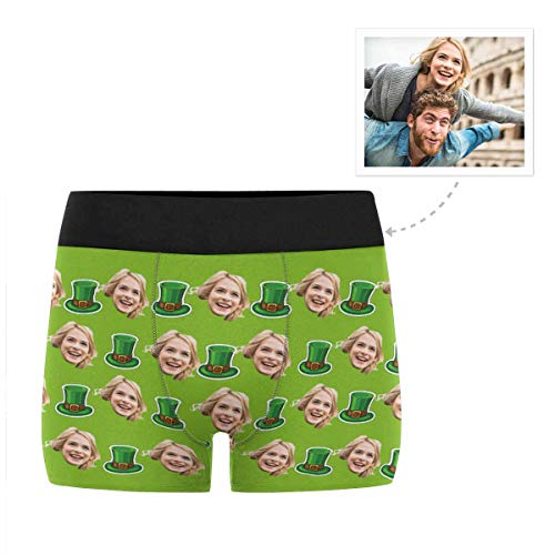 Custom Men's Funny Face St. Patrick Day Irish Hats Green Boxer Shorts Briefs Underpants Printed with Photo L