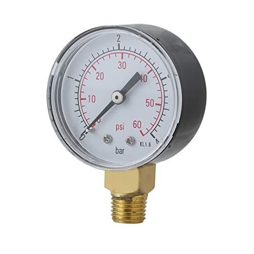 Liobaba Practical Pool Spa Filter Water Pressure Gauge Mini 0-60 PSI 0-4 Bar Side Mount 1/4 Inch Pipe Thread NPT TS-50