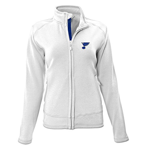 Levelwear LEY9R NHL St. Louis Blues Adult Women Tranquil Insignia Icon Heather Full Zip Jacket, Medium, White