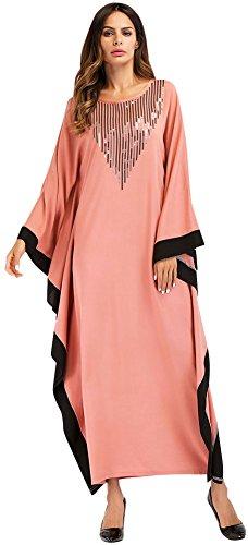 Knöchellang Drucken Ansatz 7056Rosa O Kleid Flügelhülse Damen Weich Langarm Lose Wasserfall Muslimisch Ababalaya qw6vABTc
