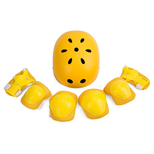 SUNVP Kid's Adjustable Helmets with 7 Pieces Protective Gear Set, Toddler Children Helmet for Bicycle Roller Skating Skateboard with Knee/Elbow/Wrist Pads(Yellow)