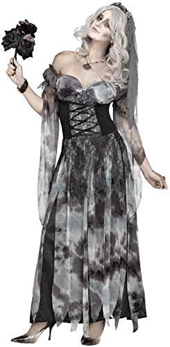 Ladies Sexy Cemetery Corpse Bride Undead Zombie Halloween Horror Fancy Dress Costume Outfit (UK -