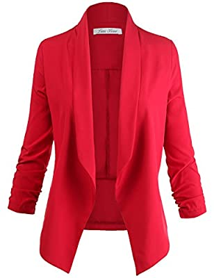 Luna Flower Women's 3/4 Cinched Sleeve Solid Color Open Front Blazer Jackets