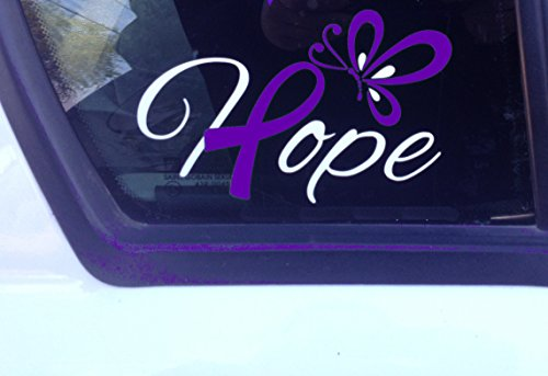 Purple Awareness Ribbon Hope with Butterfly Window Decal (Epilepsy, Lupus, Cystic Fibrosis, Rett Syndrome, Craniosynostosis, Fibromyalgia) - Butterfly Fibromyalgia Ribbon