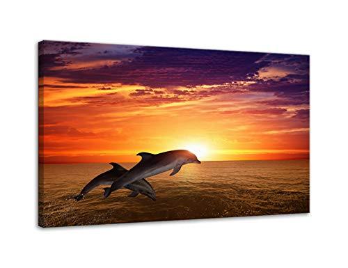 Urttiiyy Two Dolphins Jumping on The Ocean Sea Waves Canvas Prints Modern Sunset Seascape Artwork Landscape Pictures Paintings on Canvas Wall Art for Living Room Decorations Framed Ready to Hang