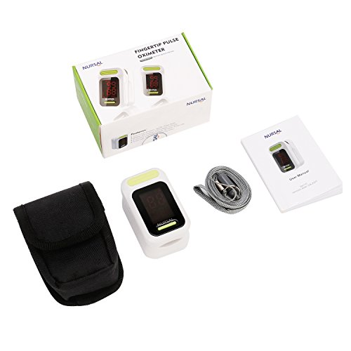 NURSAL Fingertip Pulse Oximeter Blood Oxygen Saturation Monitor with Carrying Case & Lanyard, White by NURSAL (Image #5)
