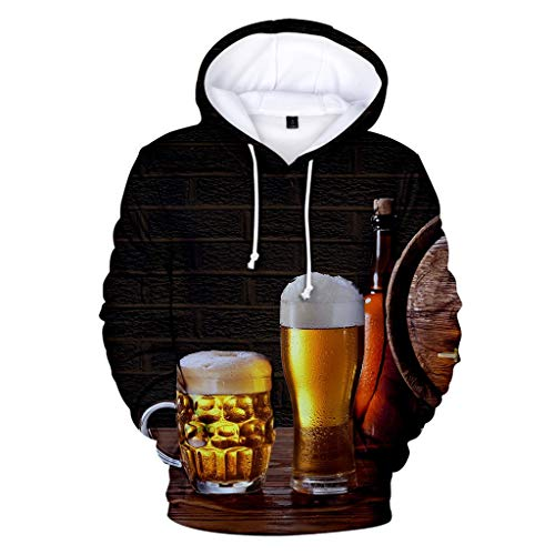 QQ1980s Unisex Beer 3D Novelty Color Block Long Sleeve Hoodies Sweatershirt Tops (Orange, 2XL)