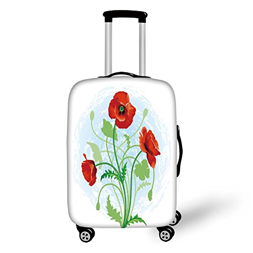 Travel Luggage Cover Suitcase Protector,Floral,Poppy Flowers Bouquet Meadow Beauty Rural Petal of Fragrance Image,Scarlet Fern Green Pale Blue,for Travel