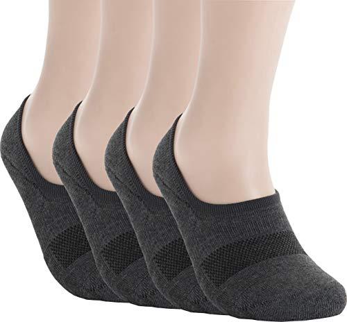 Pro Mountain Men's No Show Flat Cushion Athletic Cotton Footies Sneakers Sports Socks (M(US Women Shoe 7.5~9.5 = Men 6.5~8.5, size10 Unisex), Dark Grey 4pairs Pack ()