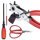 Adjustable Revolving Metal Belt Puncher - Belt Punch Pliers Tool Kit for Belt, Watch Bands, Saddle, Shoes, Crafts
