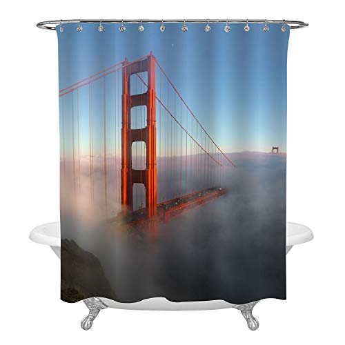 Golden Gate Hook - San Francisco Famous Tourist Attraction Shower Curtain, Foggy Golden Gate Bridge at Sunrise Landscape Industrial Home Decor, Machine Washable Polyester Fabric Bathroom Accessories with Hooks, 72 x 72