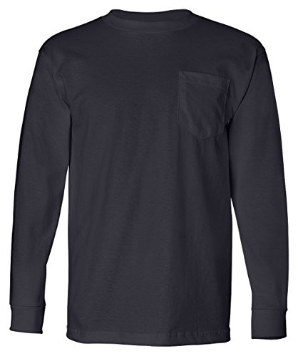 8100 Bayside Unisex Long-Sleeve Cotton Tee with Pocket Tshirt L (Heavyweight Pocket T-shirt)