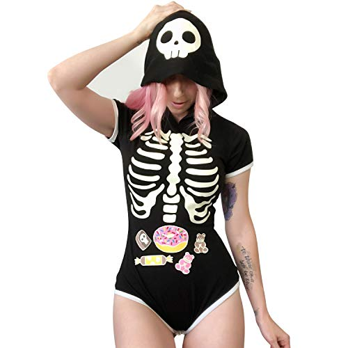 Littleforbig Adult Baby Diaper Lover (ABDL) Button Crotch Adult Baby Onesie Bodysuit - Sweet Reaper Night-Glow Halloween