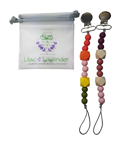 2 In 1 Pacifier / Teether Toy Holder- Modern Colors & Styles- Boys,Girls & Unisex - Unique Baby Shower Gift - Silicone Beads BPA Free -Red,Pink, Maroon, Olive Green, Cream -Pink & Whimsey 2-Pack