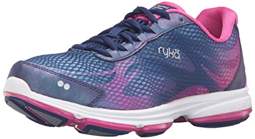Ryka Women's Devotion Plus 2 Walking Shoe, Blue/Pink, 6.5 W - Mesh Piece Stretch 2