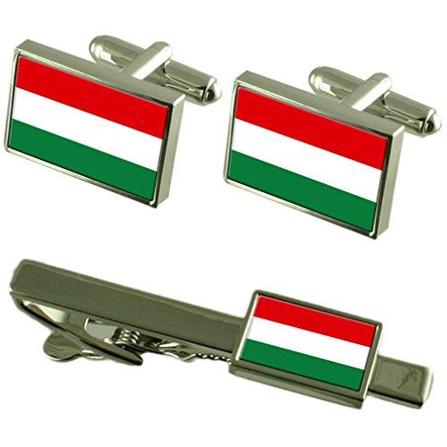 Cravate boutons de manchette Drapeau Hongrie un Ensemble cadeau correspondant